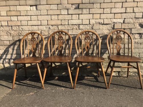 Set of 4 Vintage ERCOL Dining Chairs