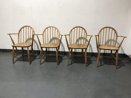 Set of 4 Vintage ERCOL Windsor Armchairs Carver Kitchen Dining Chairs Blue Label Model 139a