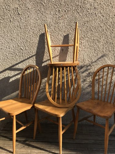 Set Of 4 Mid Century Vintage ERCOL Windsor Hoop Back Dining Chairs Blue Label