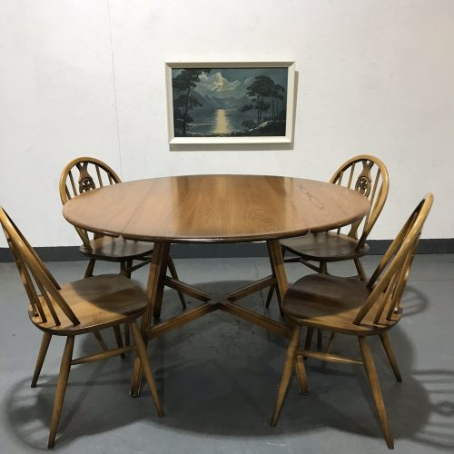 Vintage Golden Dawn ERCOL Round Drop Leaf Table and 4 Windsor Chairs
