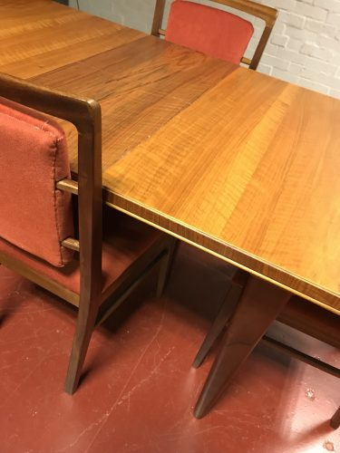 Mid Century Vintage Walnut ALFRED COX Table & Matching Six Chairs Heals 1950s