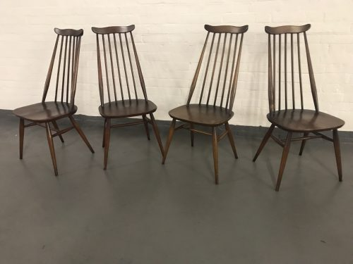 Set of Four Vintage 1960s ERCOL Windsor Goldsmith Dining Chairs Blue Label