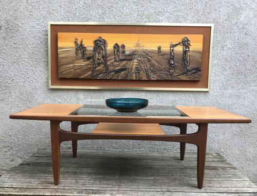 Vintage 1970s Teak Glass Top G PLAN Long John Coffee Table
