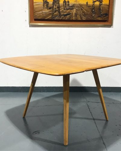 Vintage Mid Century ERCOL Blonde Square Drop Leaf Dining Kitchen Table