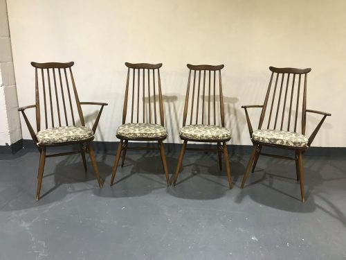 Set of Four Vintage ERCOL Windsor Goldsmith Dining Chairs Including Two Carvers