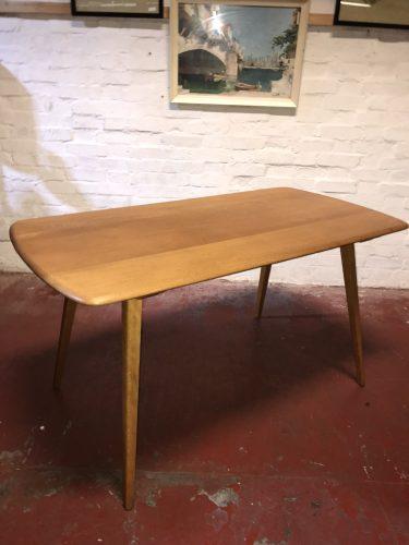Mid Century Vintage ERCOL Blonde Windsor Plank Dining Table Model 382 Blue Label