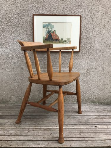 Antique / Vintage Smokers Bow Captains Chair Stick Back Carver Chair