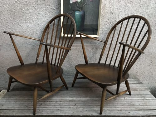 Pair of Vintage 1970s ERCOL Grandfather Armchairs / Easy Chairs