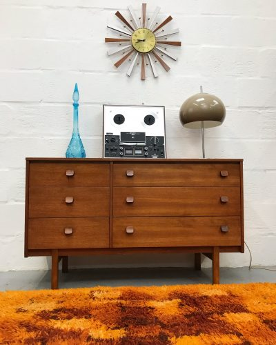 Vintage Mid Century Teak Double Bank Chest of 6 Drawers