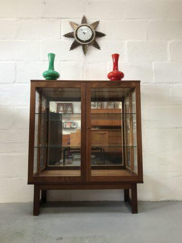 Antique Late Art Deco Burr Walnut Lockable Bookcase Display Cabinet