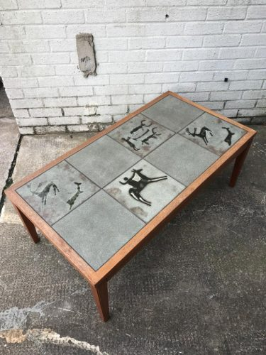 Retro 'Cave-art' Scandinavian Inspired 1970s Tile Topped Coffee Table