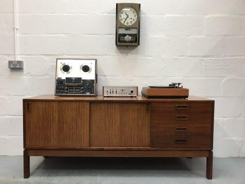 Vintage Retro 1970s Remploy Teak Sideboard Cupboard Industrial Storage Military