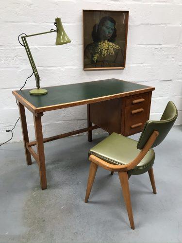 Mid Century Oak Utilitarian Desk Vintage
