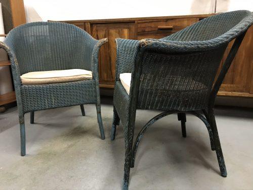 Pair of Lovely Vintage Mid Century Original Lloyd Loom Style Chairs CC41