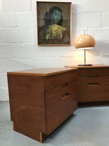 Pair of Mid Century Danish Influenced Vintage Bedside Cabinets 1960s 1970s Retro