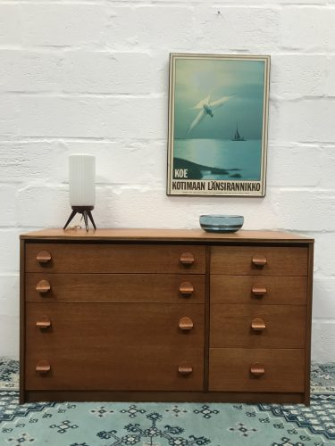 1970s Vintage Retro STAG Teak Chest of 8 Drawers with Mirror