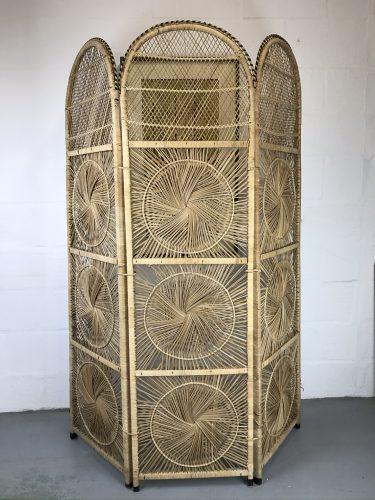 Vintage Retro Bamboo Cane Screen Room Divider
