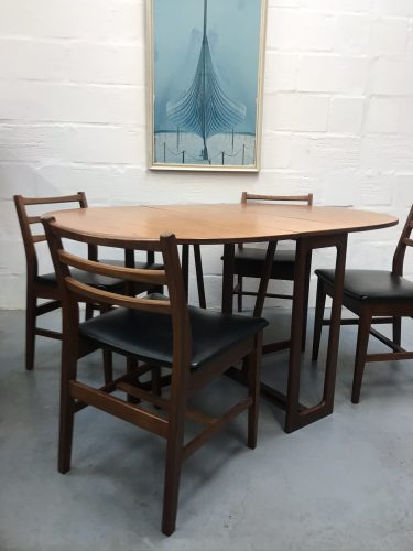 Vintage Mid Century Gate-Leg Teak Dining Table & Four Chairs