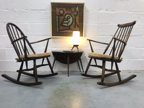 Pair of Classic 1970s ERCOL Windsor Fireside Rocking Chairs