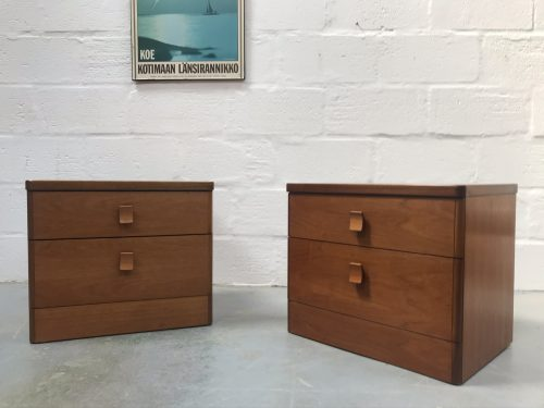 Pair of Mid Century Teak Vintage Bedside Cabinets by Stag