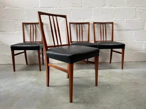 4 x Vintage Retro Teak Dining Chairs by Gordon Russell of Broadway