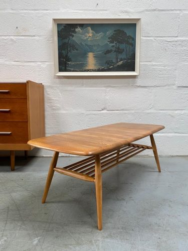 Vintage Mid Century Blonde ERCOL Occasional Coffee Table with Magazine Rack