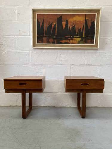 1960s Matching Pair of Vintage Uniflex Floating Bedside Cabinets by Gunther Hoffstead