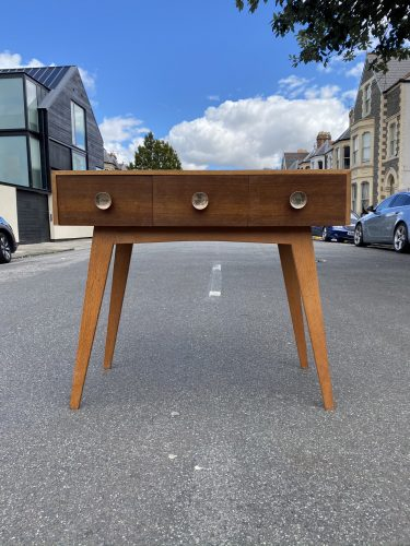 Mid Century Oak Console Table with Drawers