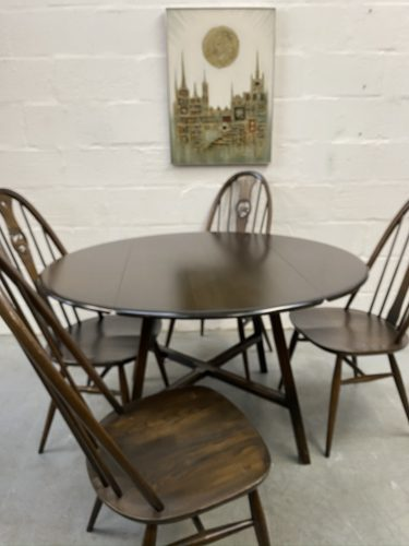 Vintage 1980s Ercol: Windsor Swan Chairs x 4 and Drop-leaf Dining Table