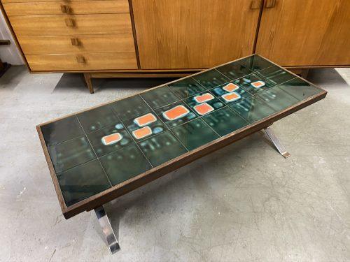 Mid Century Vintage 1960s Ceramic Tile Coffee Table by Adri
