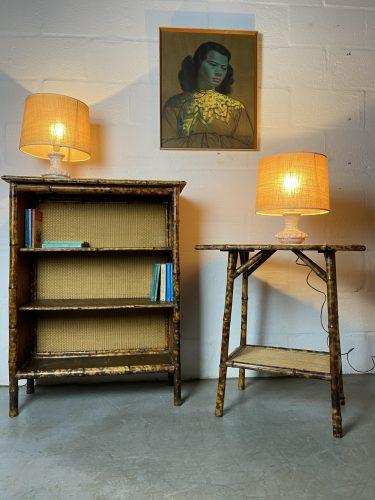 Victorian 'Tortoiseshell' Bamboo Open Bookcase & Side Table