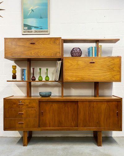 Mid Century 1960s Vintage Teak Room Divider / Bookcase