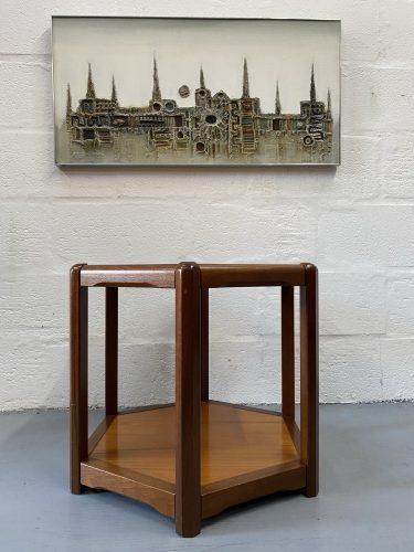 Danish Mid Century Teak Hexagonal Side Table / Lamp Table