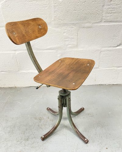 1930s Vintage industrial French Machinist Swivel Stool