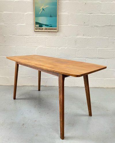 Vintage Arts & Crafts Oak Plank Top Dining Table
