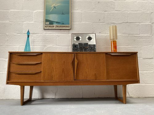 Mid Century 1960s Vintage Teak Sideboard with Sleigh Legs By Stonehill Furniture