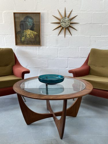 1960s Teak Glass Circular Coffee Table by V.B. Wilkins for G Plan