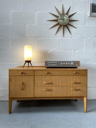 Mid Century Oak Chest of Drawers / Small Sideboard