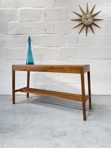 Mid Century 1950s Walnut Console Table with Under-Shelf