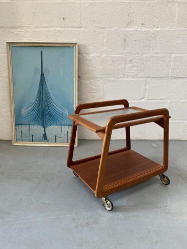 Mid Century Vintage Danish Teak Tea Trolley by Henning Wind-Hansen for Sika Møbler, 1960s