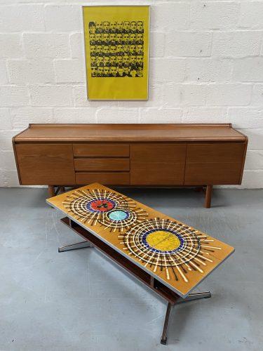 Mid Century Vintage 1960s Ceramic Tile Coffee Table by Juliette Belarti