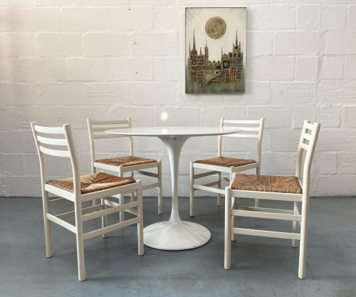 Vintage Arkana 'Tulip' Style Dining Table & 4 Habitat Rattan Weave Dining Chairs