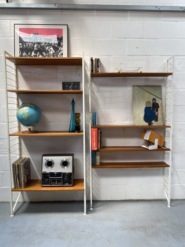 Mid Century 2 White Bay Ladderax Shelving / Display Stand Bookcase