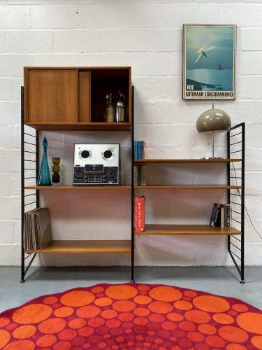 Mid Century 2 Bay Slim Ladderax Shelving / Display Stand Bookcase