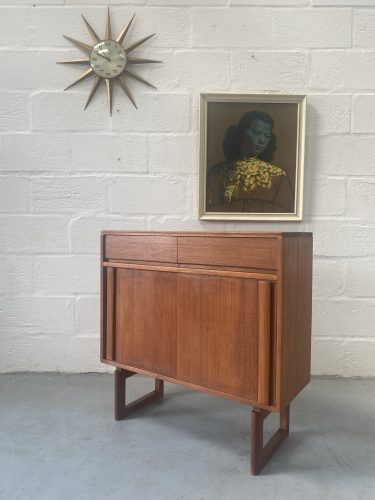 Vintage Real Teak Plank Small Sideboard / Cabinet with Sliding Doors