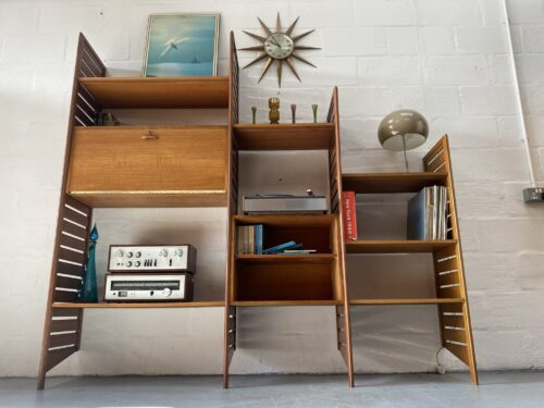 Three Bays of Ladderax Modular Shelving Designed by Robert Heal in 1964 for Staples of Cricklewood, London