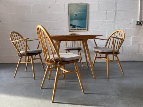 1960s ERCOL Blonde Windsor Drop Leaf Table & 4 Matching Hoop Back (inc 2 carvers) Dining Chairs