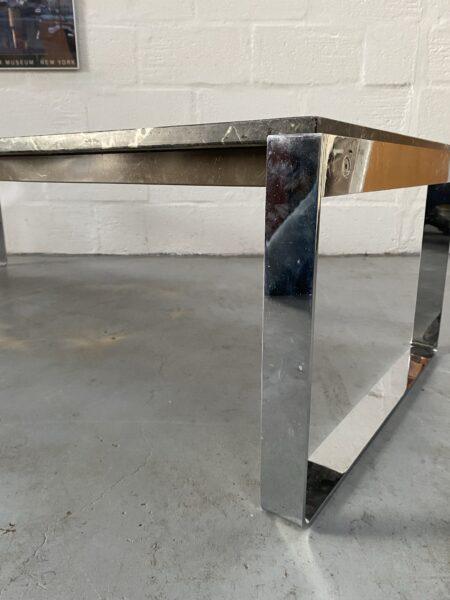Retro Vintage Italian Marble and Chrome Coffee Table