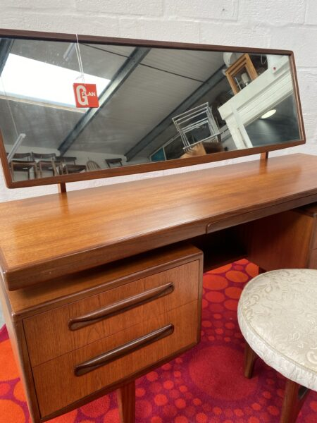 Mid Century G Plan 'Fresco' Floating Top Dressing Table with Mirror & Matching Stool