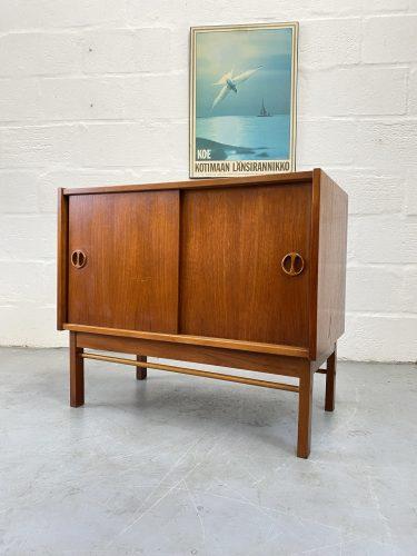 1960s Danish Teak Sliding Door Small Cabinet
